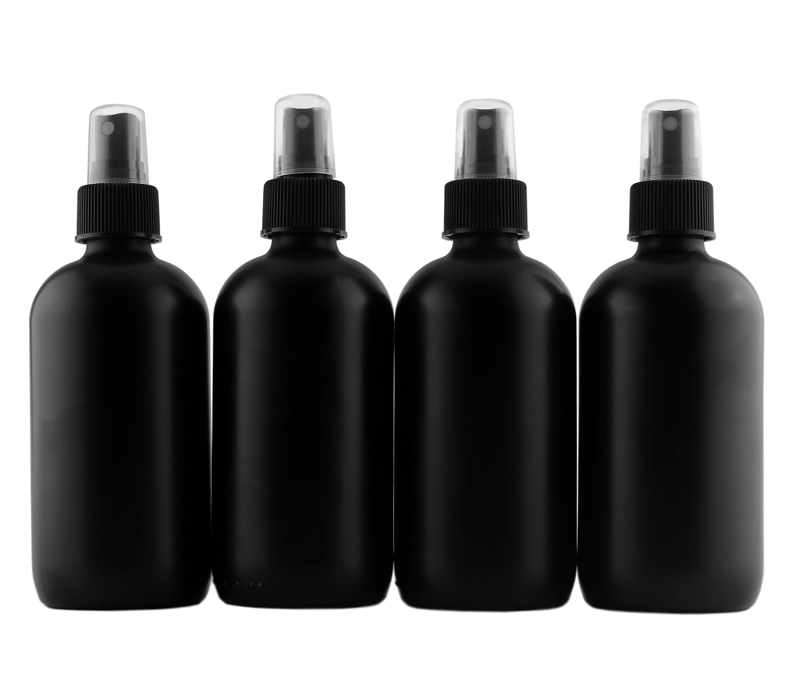 8-Ounce Black Glass Spray Bottles or Perfume Bottles (4-Pack); w/Fine Mist Atomizer Spritzers for Aromatherapy, Cologne, DIY & More