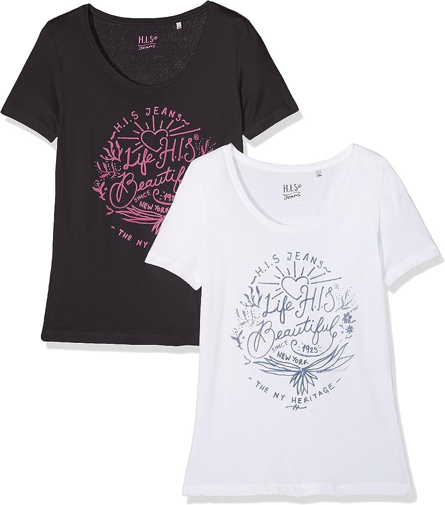 HIS Doppelpack Camiseta, Negro (Tap Shoe 8902), XS (Pack de 2) para Mujer: Amazon.es: Ropa y accesorios