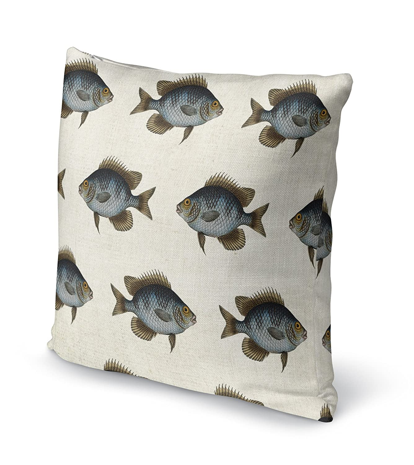 TELAVC8113DI16 Blue//Gold//Brown//Ivory - SALTWATER Collection Size: 16X16X6 - KAVKA Designs Blue Fish Accent Pillow,