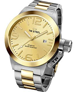 TW STEEL CB51 Mens Stainless Steel Canteen Bracelet Two-Tone Band Gold Dial Watch