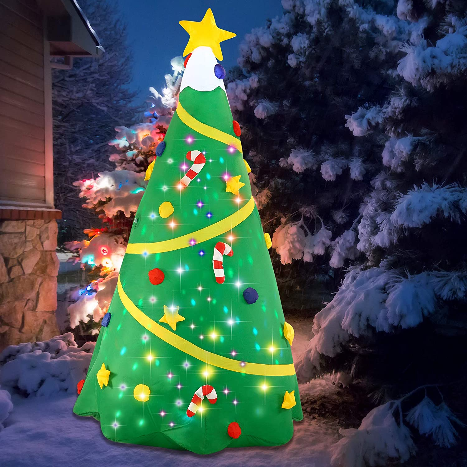 Amazon Com Joiedomi Christmas Inflatable Decoration 8 Ft Christmas Tree With Light With Build In Projection Blow Up Self Inflatables For Christmas Party Indoor Outdoor Yard Garden Lawn Décor Garden Outdoor