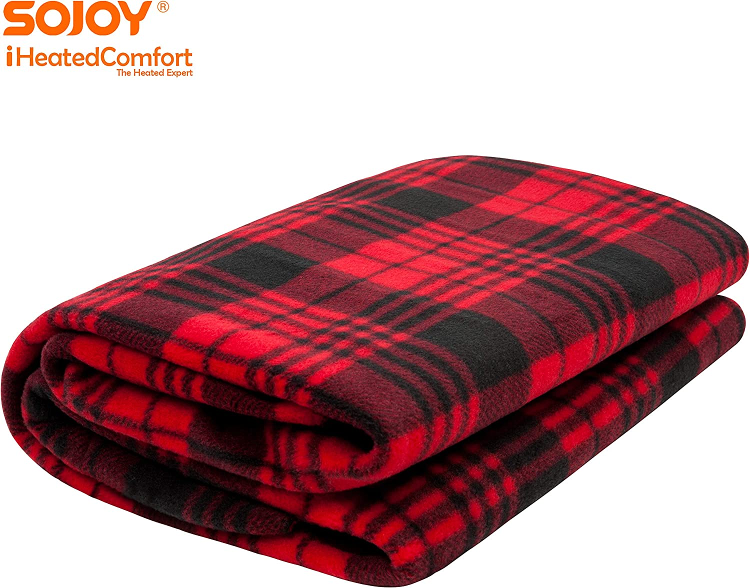 Sojoy 12V Heated Travel Electric Blanket for Car Checkered Black /& White Truck 60x 40 Boats or RV with High//Low Temp Control