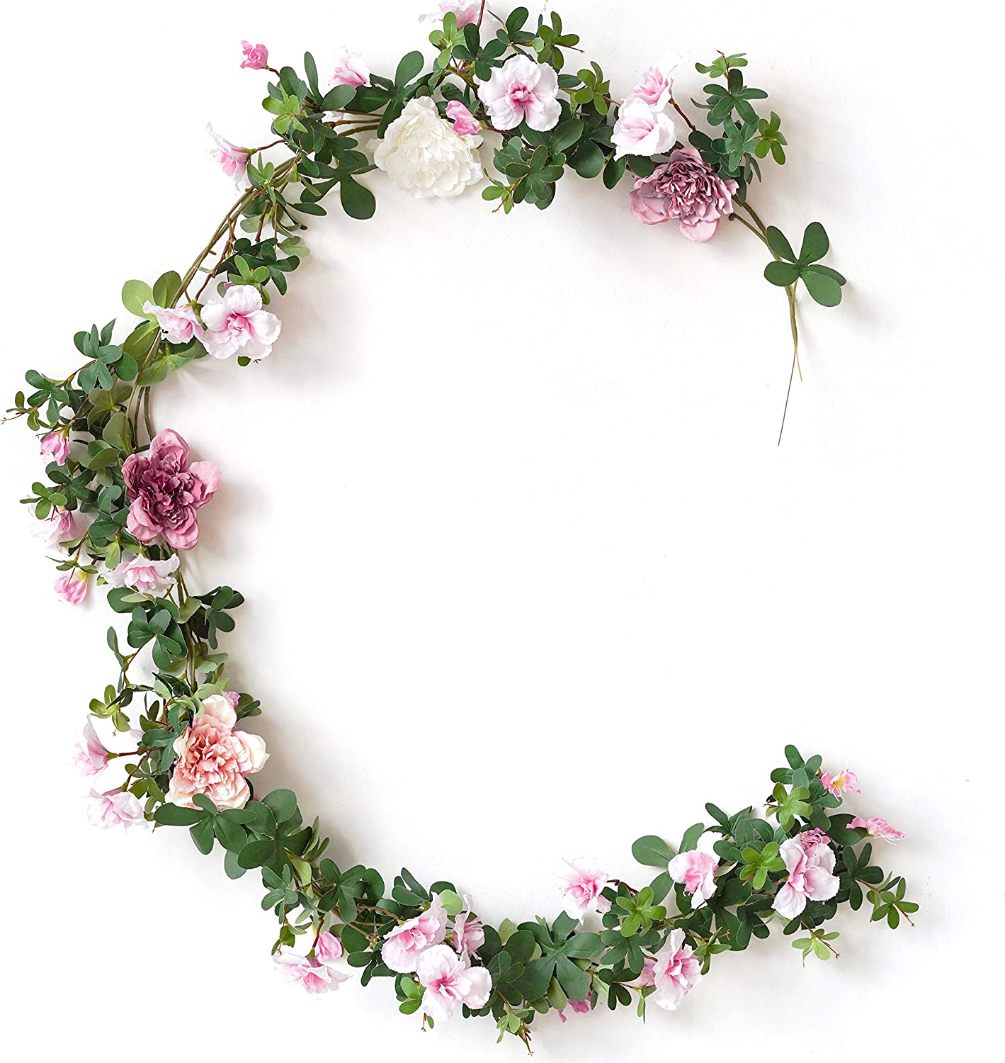 WAKISAKI Fake Vines Artificial Flowers Cherry Blossom & Ivy Hanging Plants Greenery Garland, for Cute Kawaii Room Decor Japanese Flower Wall, Wedding Decorations Ceremony Arch (Breezing Blush)