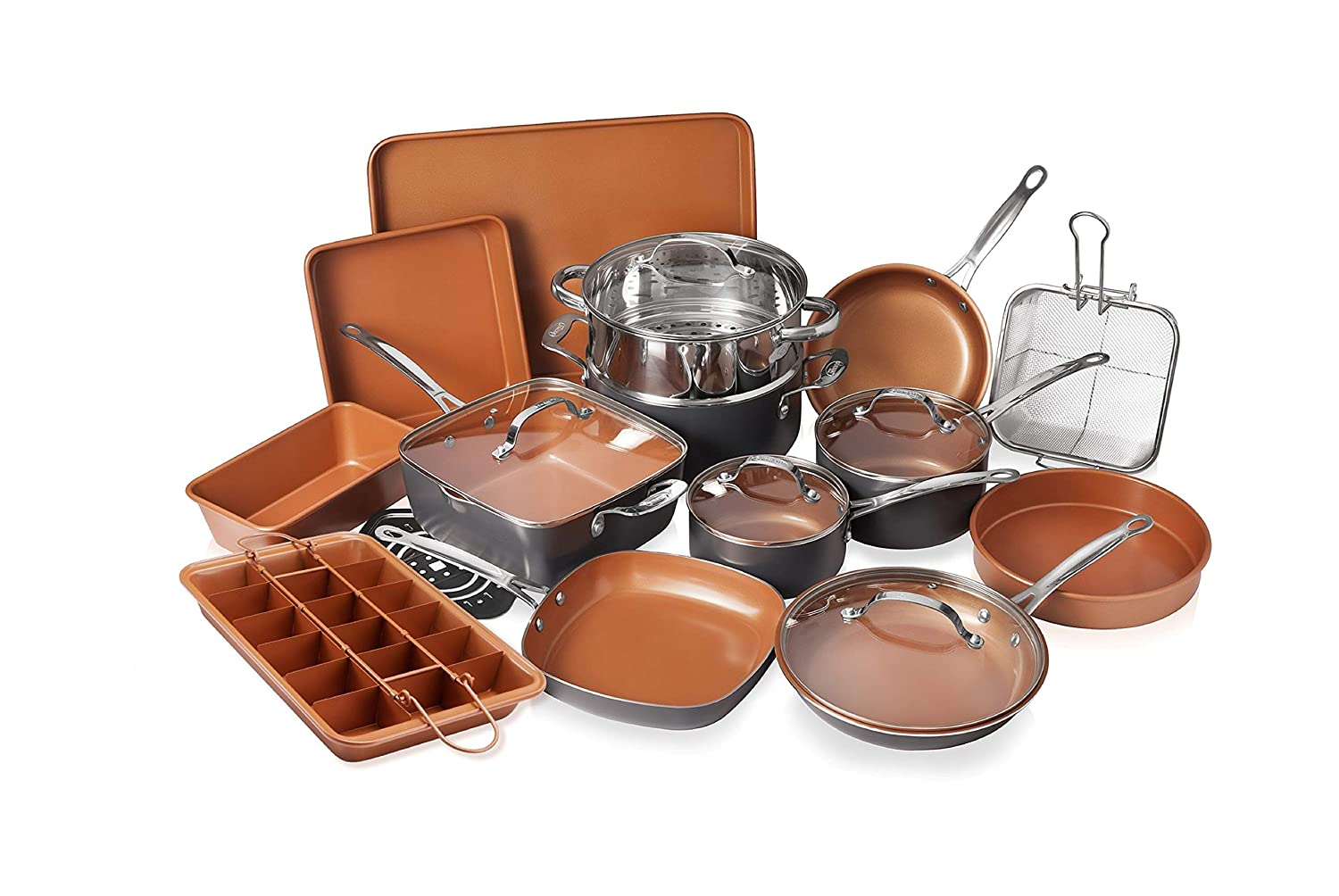 Gotham Steel 20 Piece All in OneKitchen Cookware + Bakeware Set with Non-Stick Ti-Cerama Copper Coating – Includes Skillets, Stock Pots, Deep Square Pan with Fry Basket, Cookie Sheet and Baking Pans