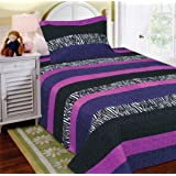 Amazon Com Black Amp Purple Bold Teen Girls Twin Size