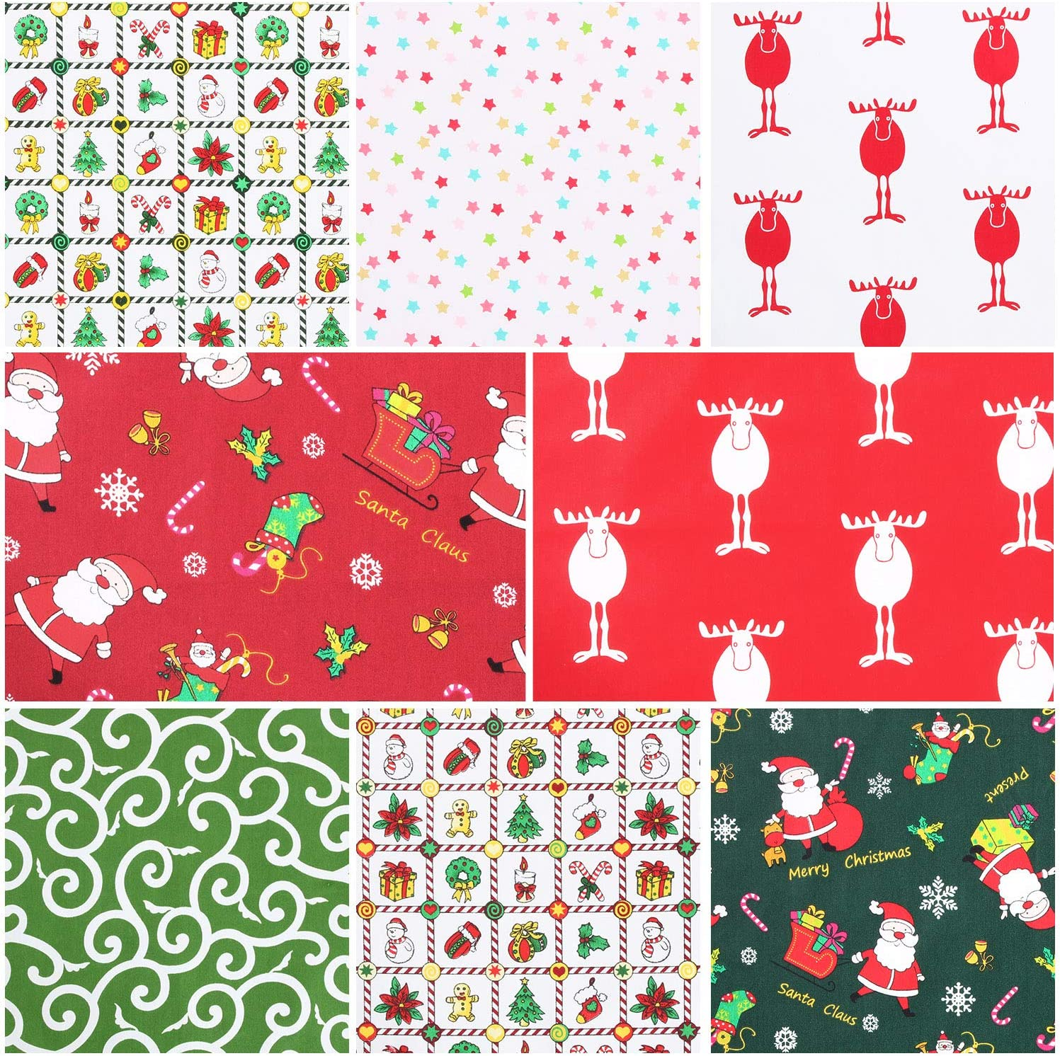 20 x 20 Inch 8 Pieces Christmas Cotton Fabric Bundles Square Sewing Precut Patchwork Printed Fabric Scraps for DIY Christmas Stocking Tree Wreath Doll Dress Apron Quilt Coaster