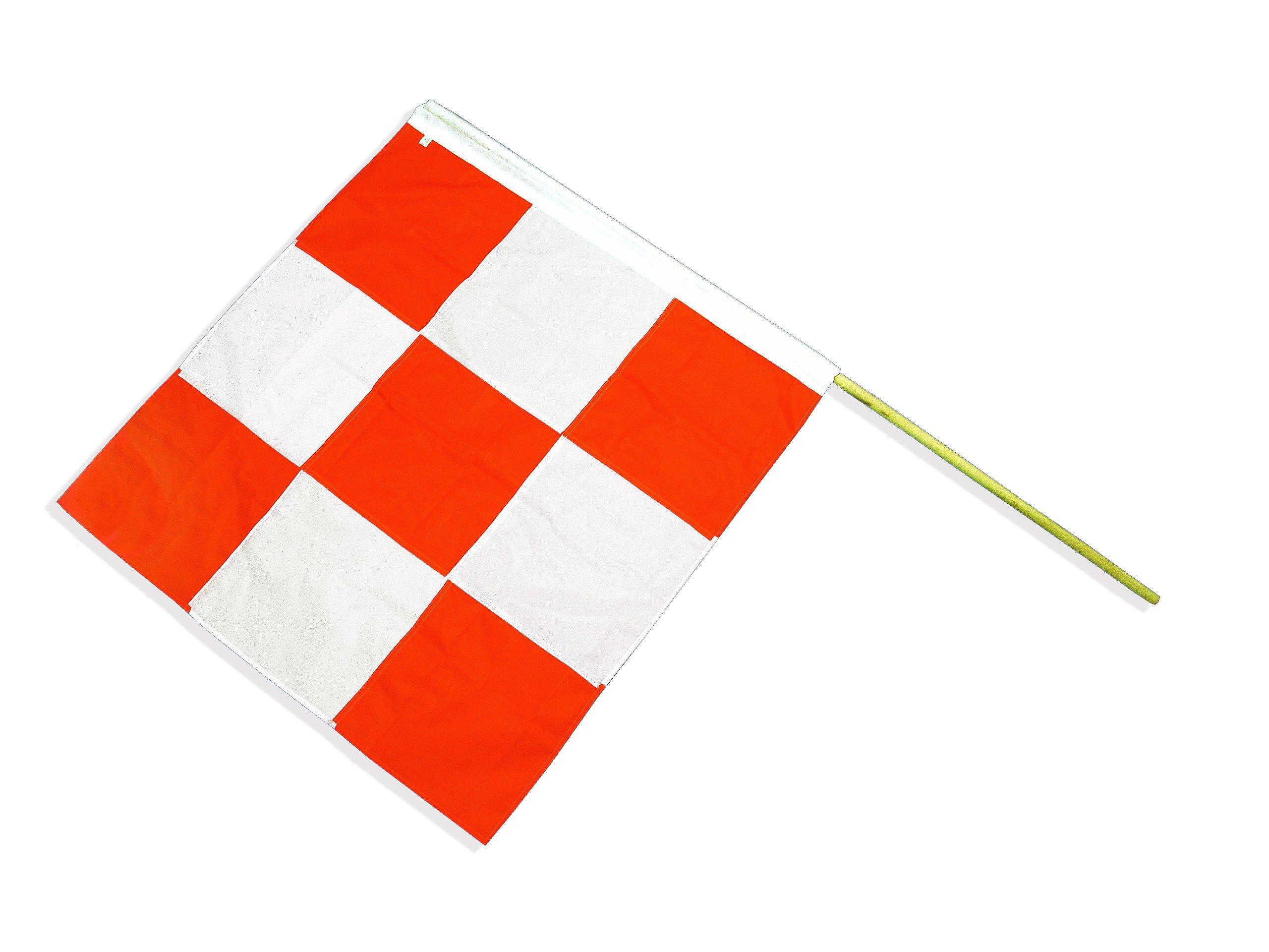 Mutual 14977-5 Heavy-Duty Nylon Airport Flag with 60'' Staff, 36'' Length x 36'' Width, Orange/White