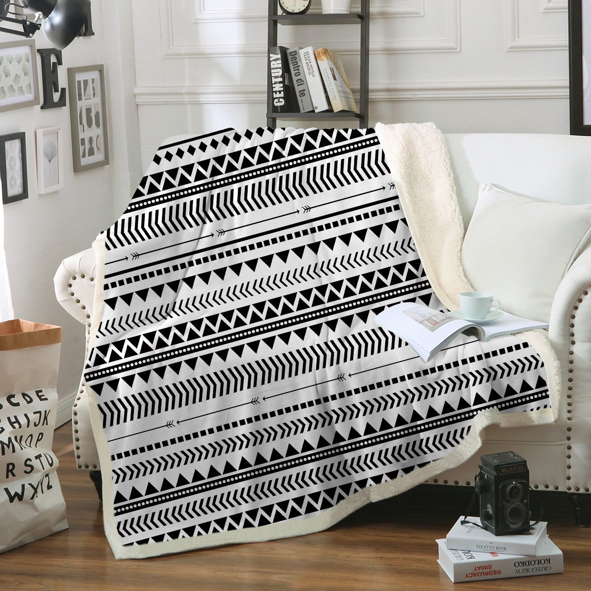 Groovy Sleepwish Aztec Throw Blanket Black White Triangle Blanket Tribal Geometric Fleece Sherpa Throw Blanket For Couch Bed Sofa 60 X 80 Inch Creativecarmelina Interior Chair Design Creativecarmelinacom
