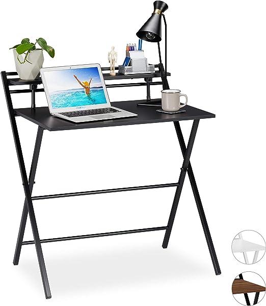 Relaxdays Escritorio Plegable, Mesa de PC, con Estante, Home ...