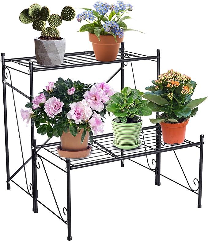 FullBerg interni ed esterni Supporto per fiori in metallo smontabile a 2 ripiani patio giardino per 2 vasi di fiori per interni ed esterni per casa