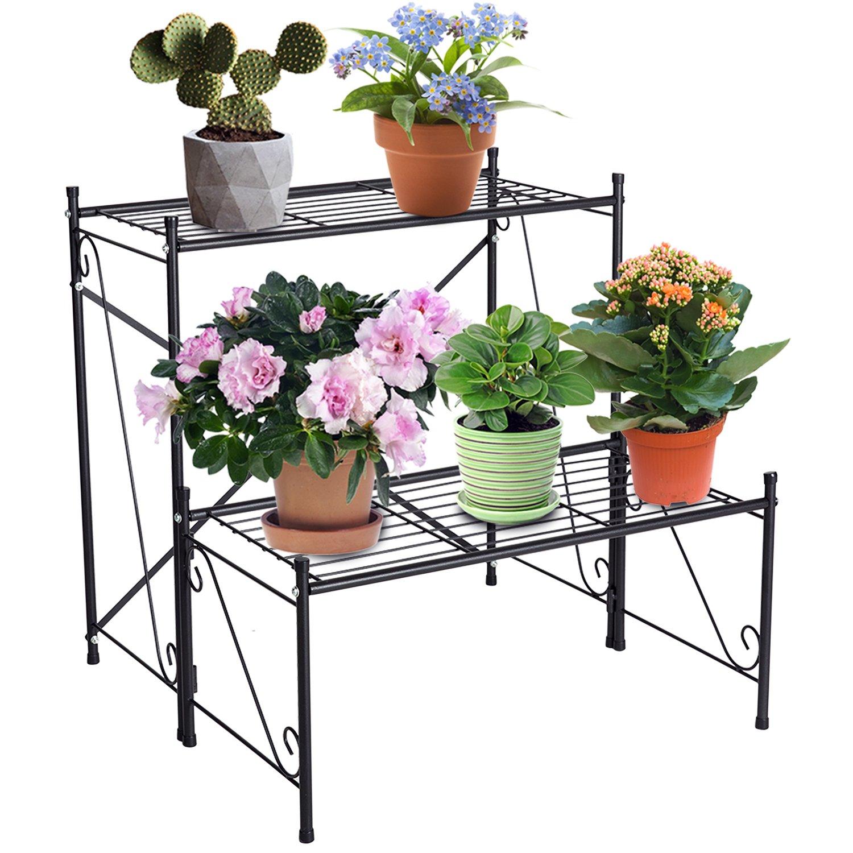 DOEWORKS /Étag/ère de Rangement en m/étal /à 2 /étages pour Pots de Fleurs Noir