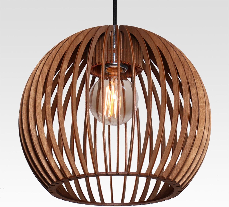 Farbluft Design Bola Suspension en bois au design modernePlusieurs couleurs, Bois, naturel, E27 60.0W Vert Pomme