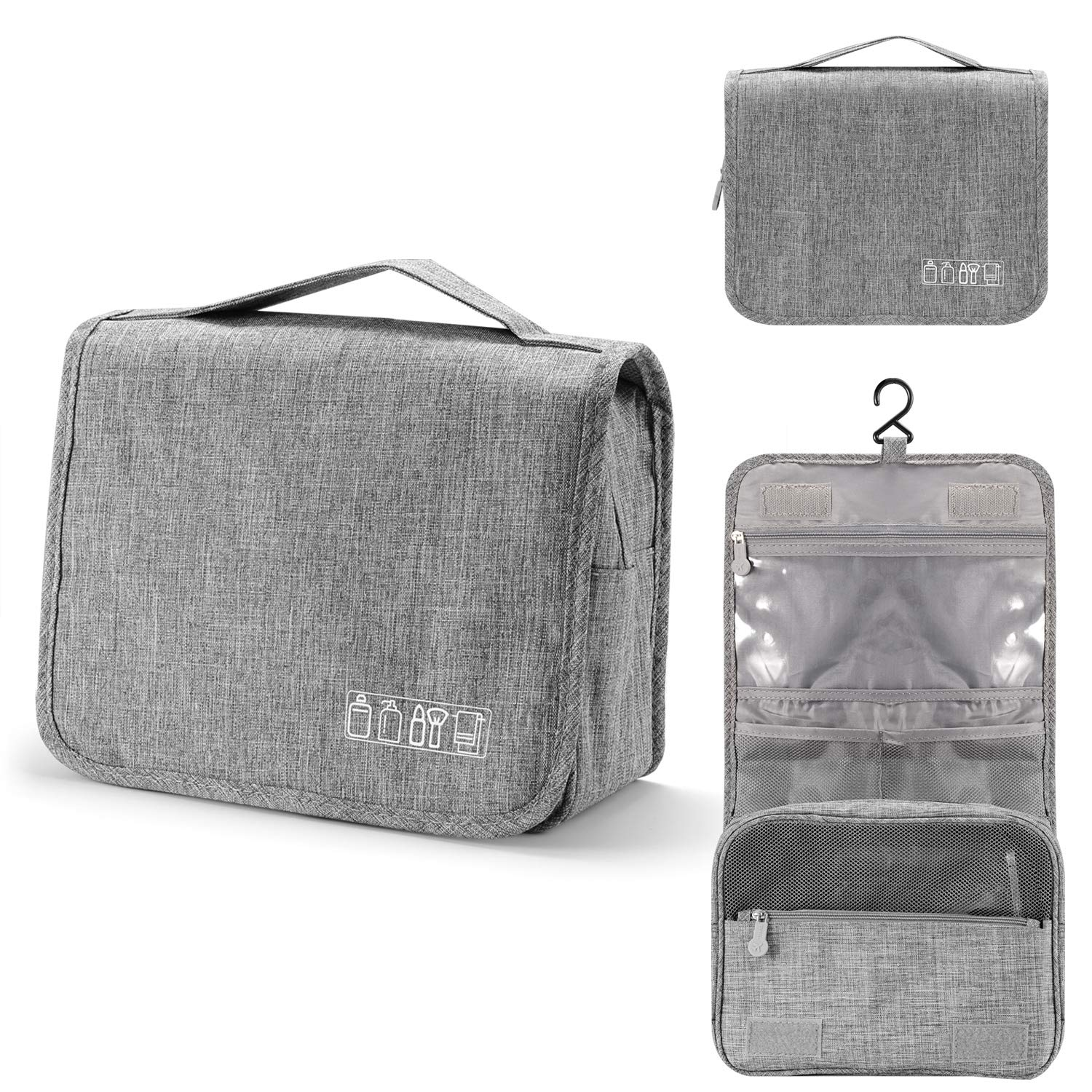Portable Toiletry Bags Waterproof Cosmetic Pouch (Grey)