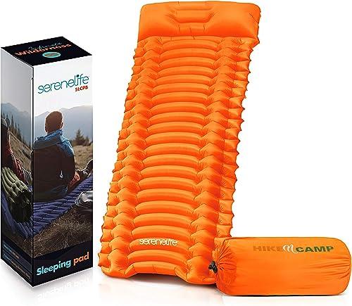 Backpacking Air Mattress Sleeping Pad – Self Inflating Waterproof Lightweight Sleep Pad Inflatable Camping Sleeping Mat w Carrying Bag – for Camping, Backpacking, Hiking – Serenelife SLCPB Blue