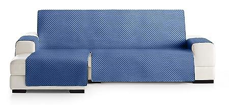 JM Textil Funda Cubre Sofá Chaise Longue Elena, Protector para Sofás Acolchado Brazo Izquierdo. Tamaño -290cm. Color Azul 03 (Visto DE Frente)