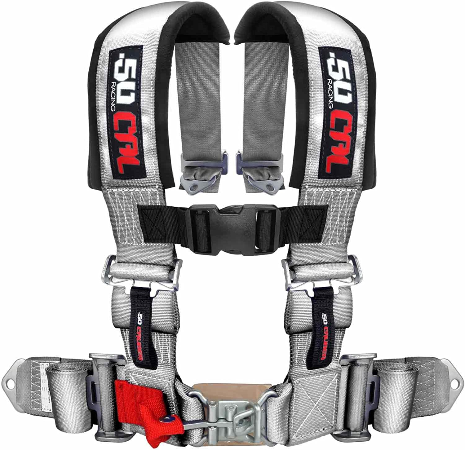Trucks 6006 UTV and Off Road Vehicles 50 Caliber Racing Silver 4 Point Harness with 3 Straps for Cars