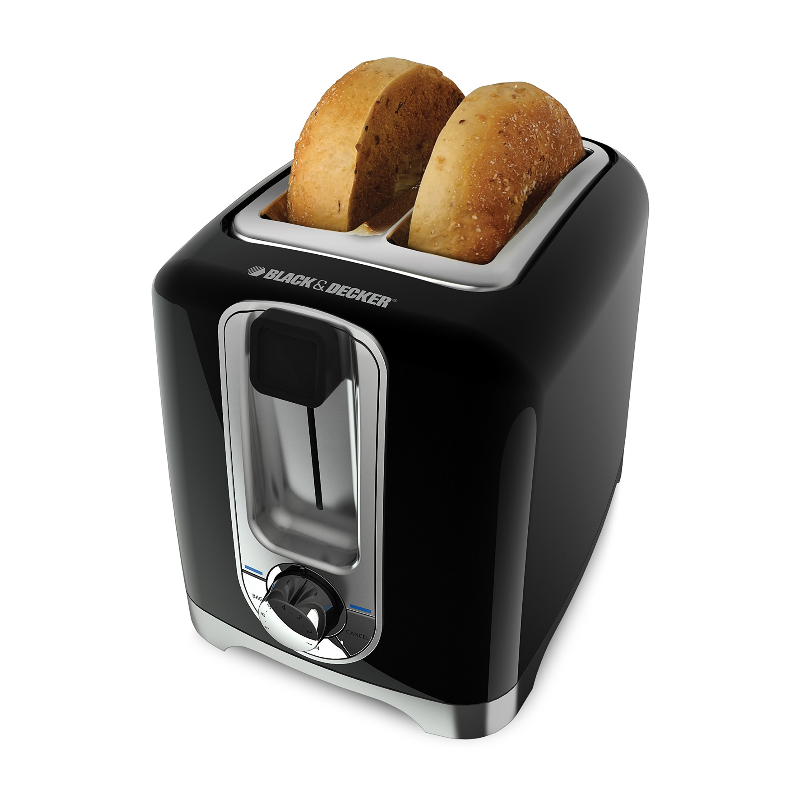 BLACK+DECKER 2-Slice Toaster, Square, Black with Chrome Accents, TR1256B