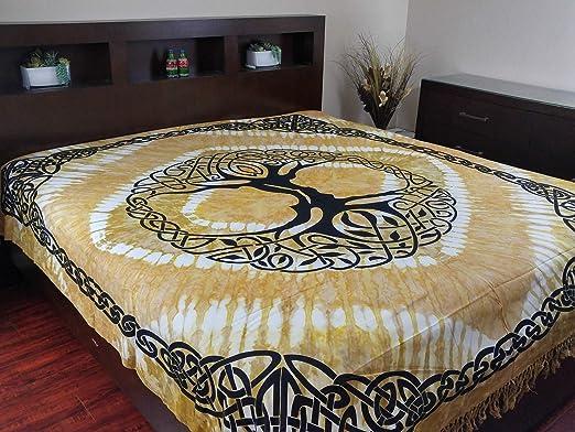 Celtic Boho Bedspread Tapestry Wall Hanging Bed Sheet Throw Blanket Hippie Art