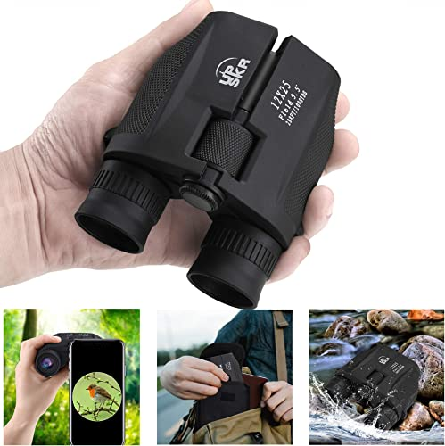 UPSKR 12×25 Compact Binoculars with Low Light Night Vision, Large Eyepiece High Power Waterproof Binocular Easy Focus for Outdoor Hunting, bird watching, Traveling, Sightseeing Fit For adults and kids