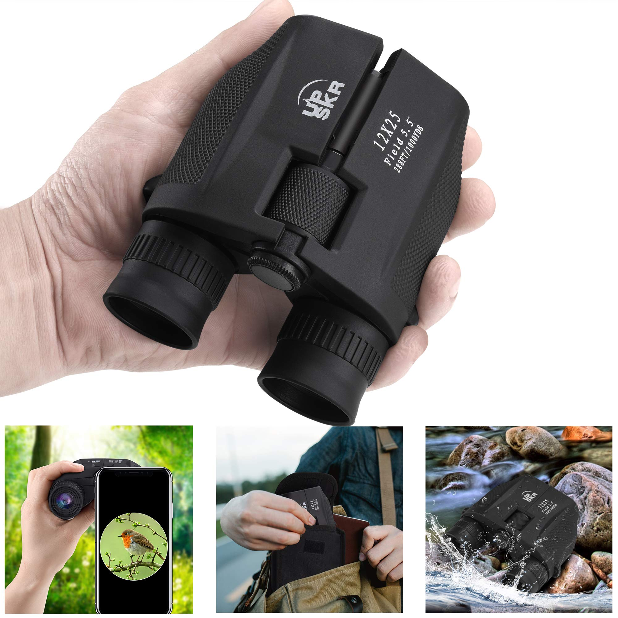 UPSKR 12x25 Compact Binoculars with Low Light Night Vision, Large Eyepiece High Power Waterproof Binocular Easy Focus for Outdoor Hunting, bird watching, Traveling, Sightseeing Fit For adults and kids by UPSKR