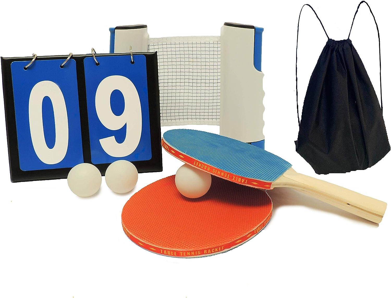 GS1 US, INC. Ping Pong Set con Red portátil, 2 Raquetas de Tenis de Mesa, 3 Pelotas, 1 Marcador, 1 Bolsa de Red para el Transporte