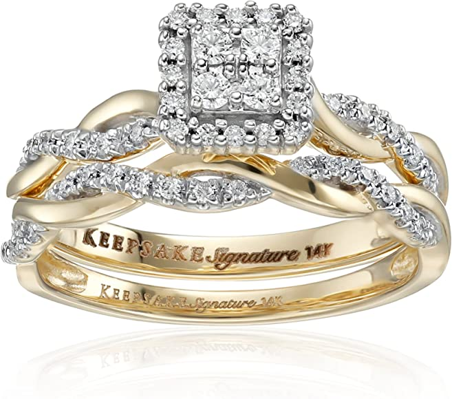 Keepsake Signature 14k White Gold Diamond Twist Engagement Ring (1/3cttw,  HI Color, I1 Clarity)