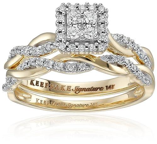 e50f74734918 Amazon CollectionKeepsake firma 14Â K oro blanco diamante Twist anillo de  compromiso (1 3cttw