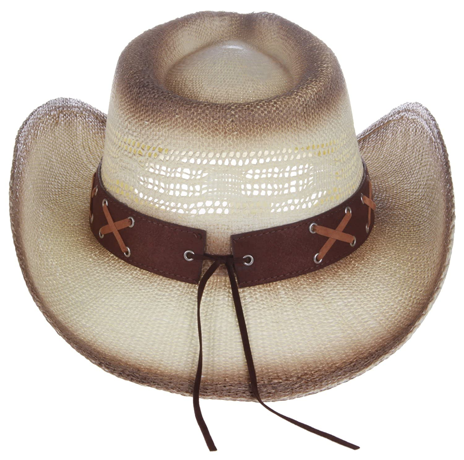ae66e9e67d725 Enimay Western Outback Cowboy Hat Men s Women s Style Straw Felt Canvas  Bead Blue One Size at Amazon Women s Clothing store