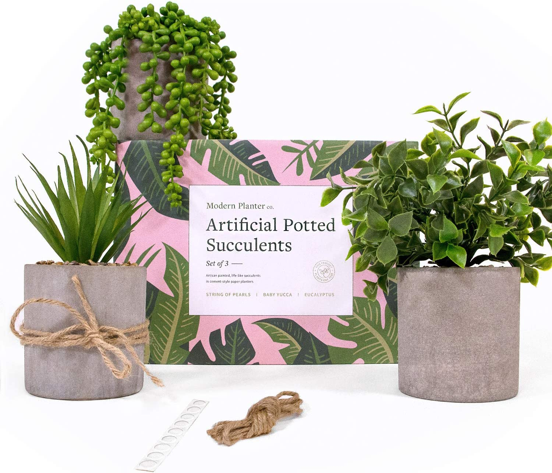 Modern Planter Small Fake Plants Set of 3- Small Artificial Plants for Faux Plant Decor Use Fake Potted Plants as Fake Small Plants Decor, Farmhouse Bathroom Plants, Fake Plant Desk Decor