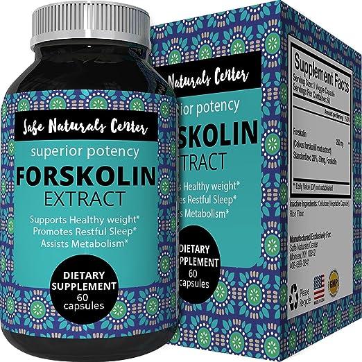 Best Forskolin Weight Loss Supplement for Men & Women - Coleus Forskohlii Extract Standardized 20% Forskolin Diet Pills Fat Burner Energy Booster Potent Appetite Suppressant - Safe Naturals Center