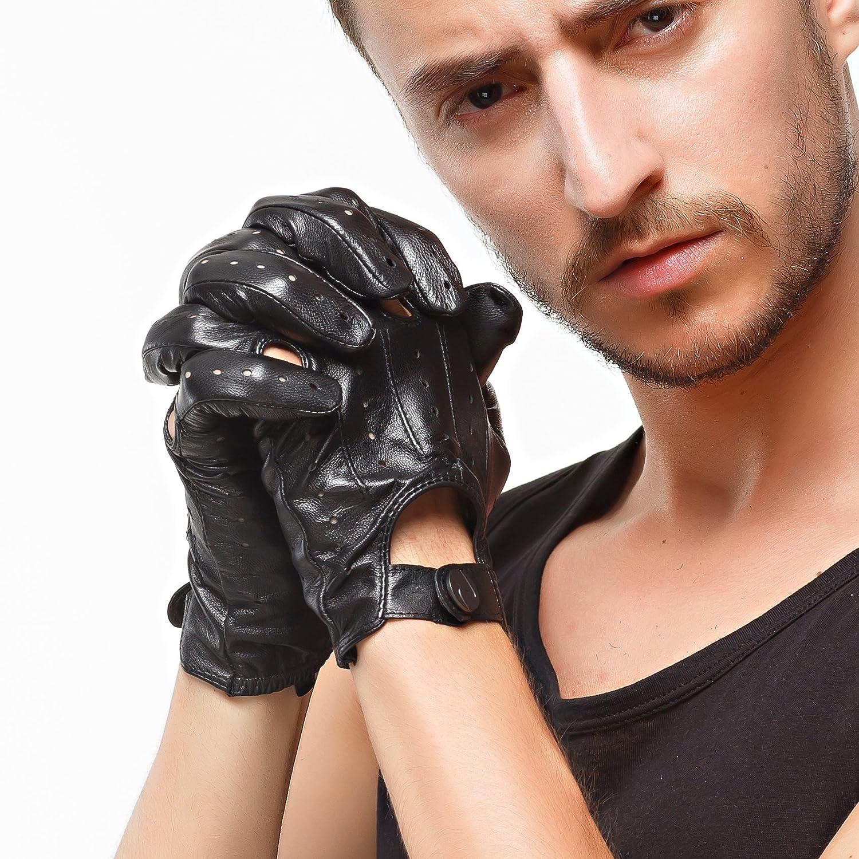 Nappaglo gants en cuir italien conduite dhommes non plein doigt moto cyclisme /à gants