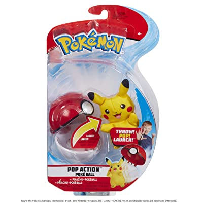 Pokemon Pop Action Poké Ball Launcher, Comes with Launching Pikachu Mini-Plush & Poke Ball - Flies up to 10ft into Battle Action: Toys & Games