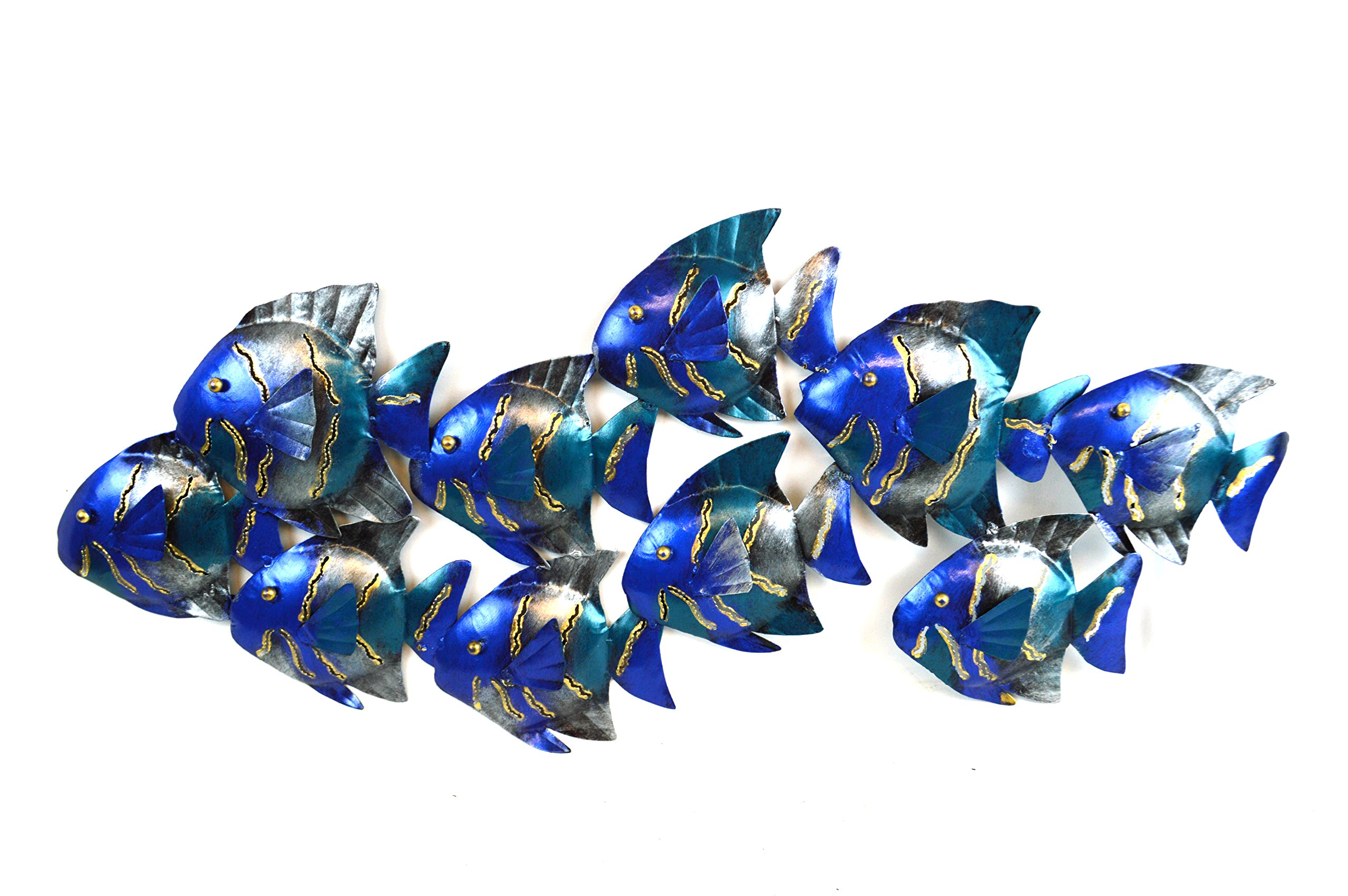BEAUTIFUL UNIQUE blue NAUTICAL SCHOOL OF FISH CONTEMPORARY METAL WALL ART