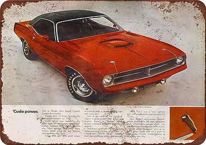 1970 Plymouth Hemi Cuda Vintage Look Reproduction Metal Sign 8 x 12