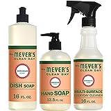 Mrs. Meyer's Clean Day Kitchen Basics Set, Geranium, 3 ct: Dish Soap (16 fl oz), Hand Soap (12.5 fl oz), Multi-Surface Everyday Cleaner (16 fl oz)