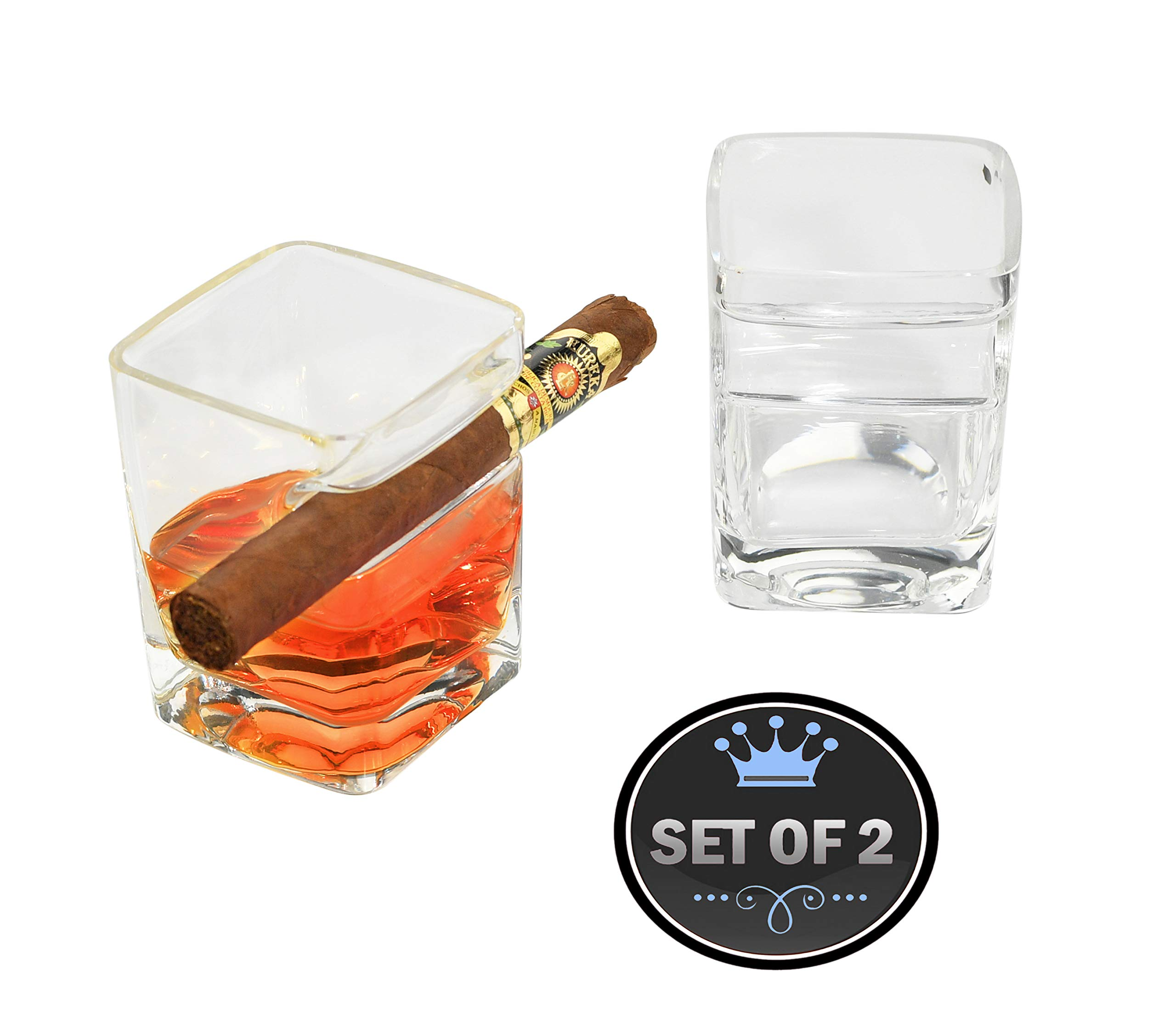 ARAD Cigar Holder and Drinking Glass, Smoking Accessories (2 Pack)