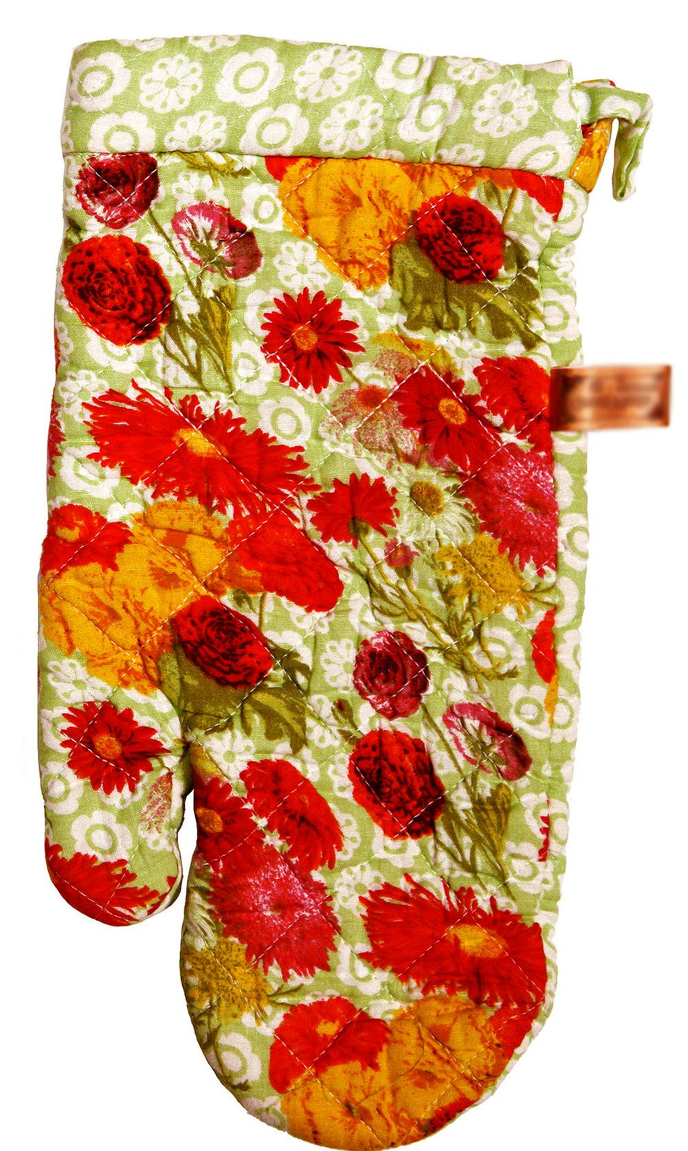 "Custom & Durable {14"" x 6.5"" Inch Each} 4 Set Pack of Mid Size ""Non-Slip"" Pot Holders Gloves Made of Cotton for Carrying Hot Dishes w/ Quilted Classic Daisy Floral Style {Green, Red, & Pink}"