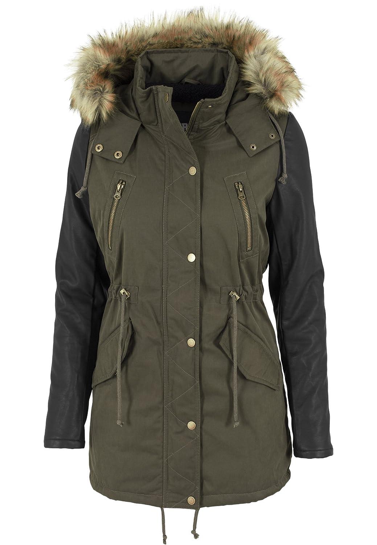 Urban Classics Jacke Leather Imitation Sleeve Parka, Chaqueta para Mujer: Amazon.es: Ropa y accesorios