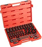 Sunex 2569 1/2-Inch Drive Metric Impact Socket Set, Standard/Deep, 6-Point, Cr-Mo, 3/8-Inch - 1-1/2-Inch, 43-Piece