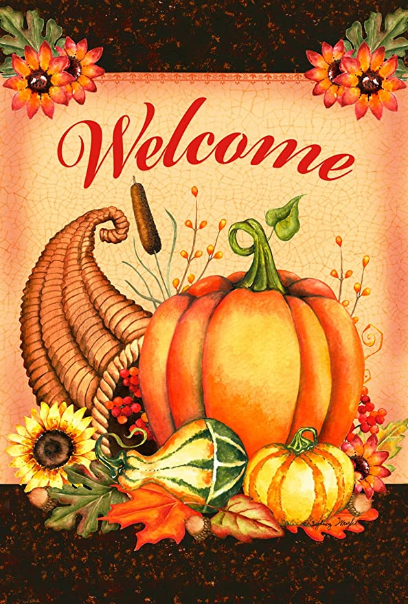 Toland Home Garden Welcome Cornucopia 28 X 40 Inch Decorative Thanksgiving Harvest Double Sided House Flag Garden Outdoor