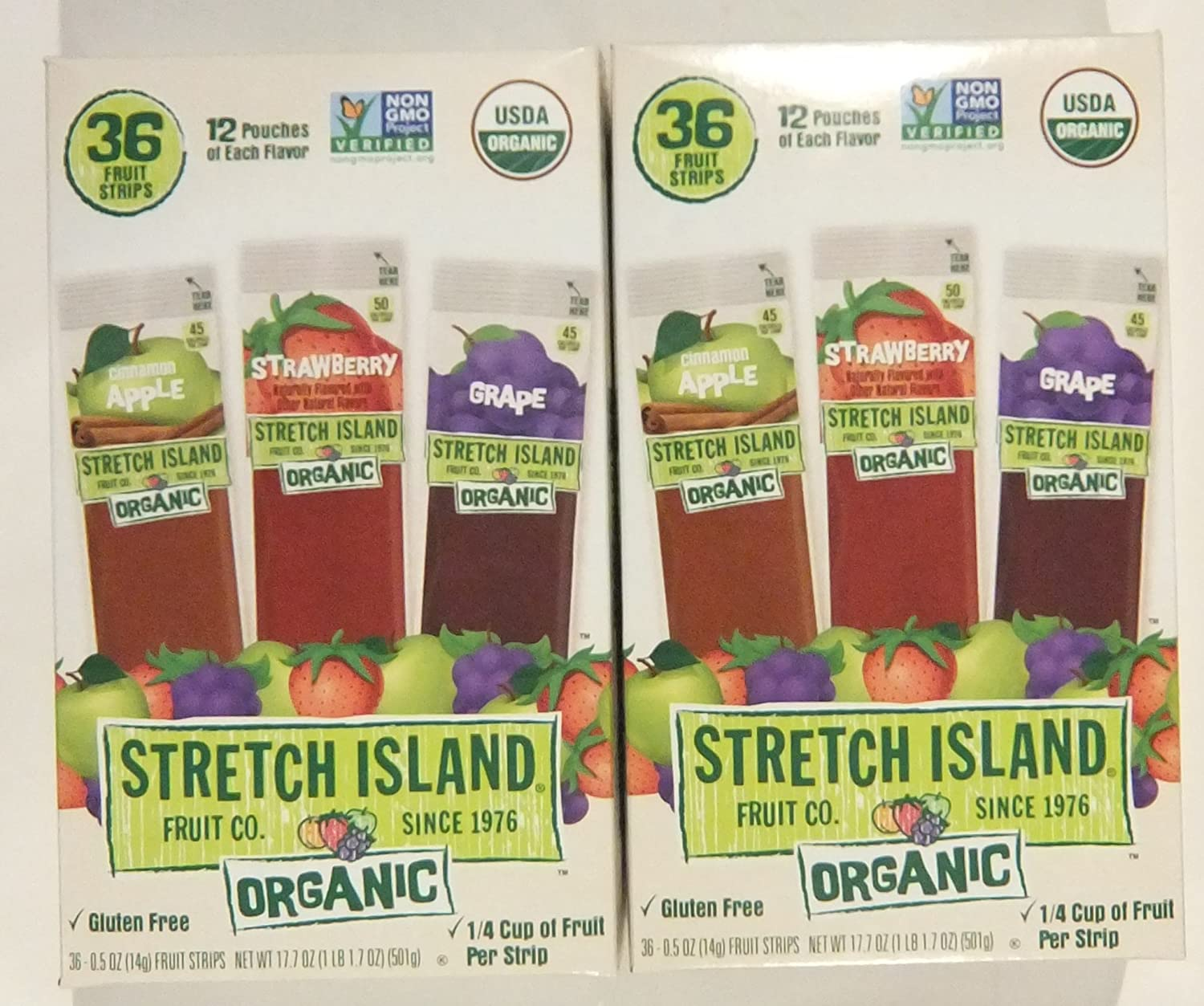 Stretch Island Organic Fruit Leather Strips, Assorted Flavors, 36 strips/box (Pack of 2)
