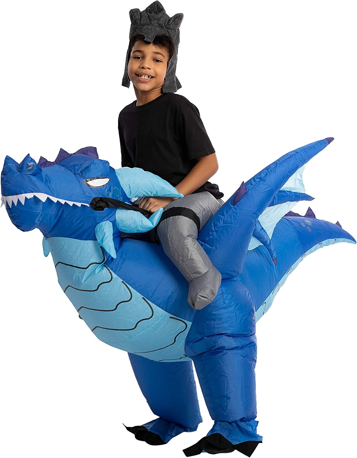 Spooktacular Creations Halloween Inflatable Costume Ride an Ice Dragon Inflatable Costume Blue Unisex