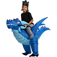 Child Unisex Blue Riding-an-Ice Dragon Inflatable Costume
