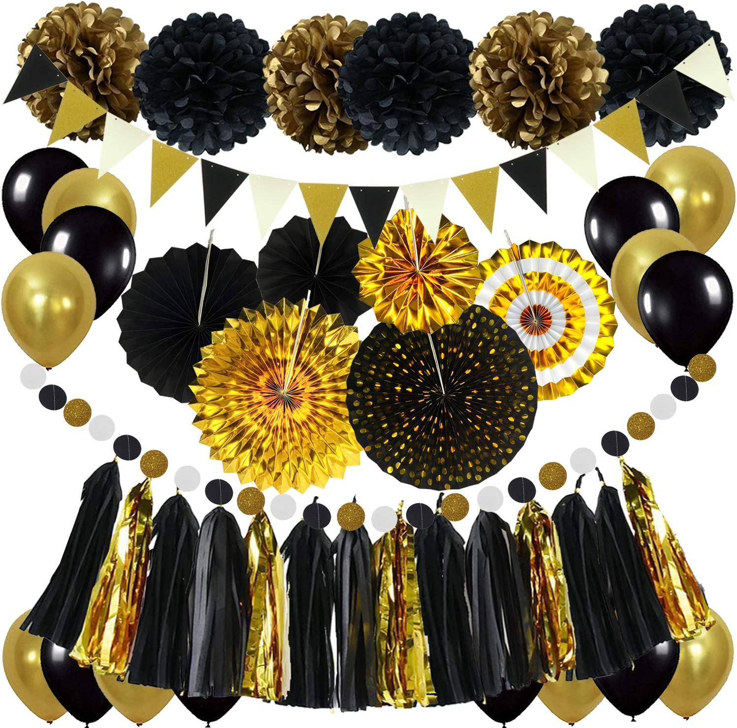 ZERODECO Black and Gold Decorations, Hanging Paper Fans Pom Poms Flowers Tassel Garlands String Triangle Bunting Flags and Balloons for Birthday Graduation Party Wedding Décor