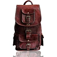 Madosh, Genuine Brown Leather Backpack Travel Bag Weekender Hiking Luggage Shoulder Rucksack Vintage Casual Daypack