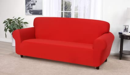 Amazon.com: Madison Stretch Jersey Red Sofa Slipcover, Solid: Home ...