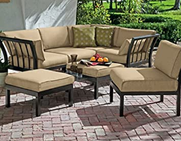 Outdoor Patio Sectional 7 Piece Stylish Furniture Sofa Set Seats Deep  Seating