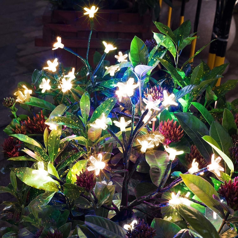 Solar Garden Decorative Lights Outdoor, Solar Cherry Blossom Lights LED Garden Light for Outdoor Christmas Landscape Pathway Wedding Party Decoration (Cherry Light)