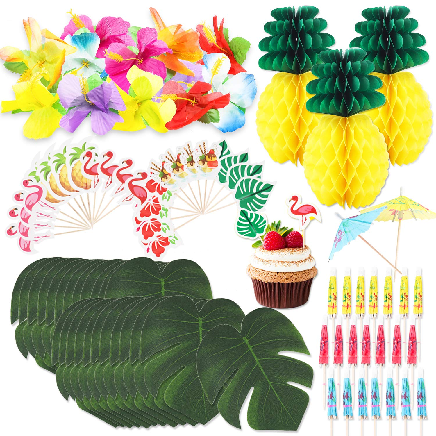 R HORSE 100 Packs Tropical Hawaiian Jungle Party Decoration Set Luau Party Supplies Decor Tropical Palm Leaves, Silk Hibiscus Flowers, Tissue Paper Pineapples, Cupcake Toppers, Paper Cocktail Umbrella