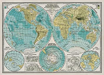 Cavallini Hemisphere Map Wrapping Paper: Amazon.co.uk: Office Products